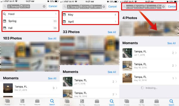 iPhone Search Photos Using Multiple Filters