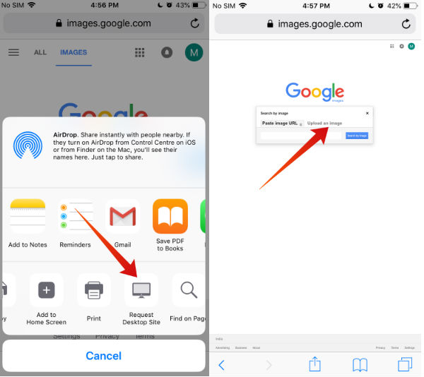 iPhone Google Reverse Image search
