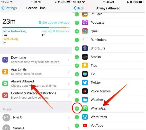 iPhone Lock WhatsApp using Downtime