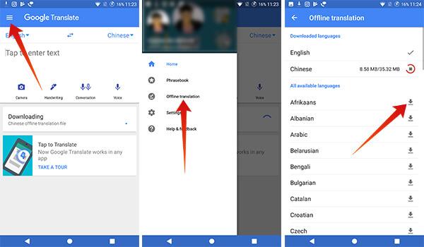Download Offline Translation Language Packs on Google Translate