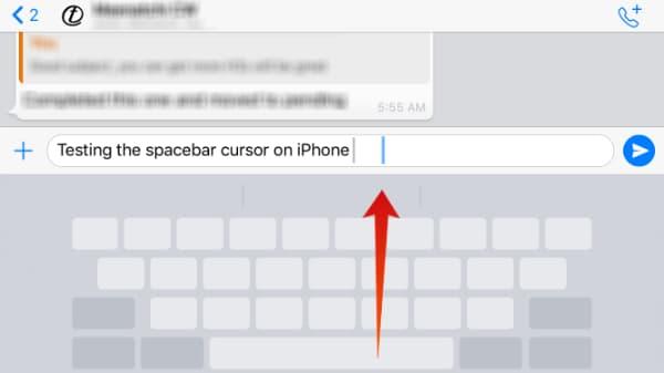 iOS Keyboard Space Cursor