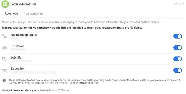 Screenshot showing tutorial to Change Ad Preferences Based on Your Personal Info