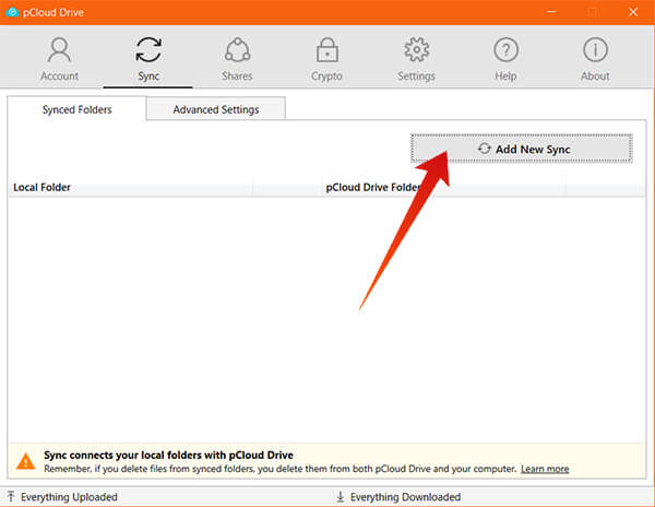 Choose Add New Sync from pCloud Drive on Windows