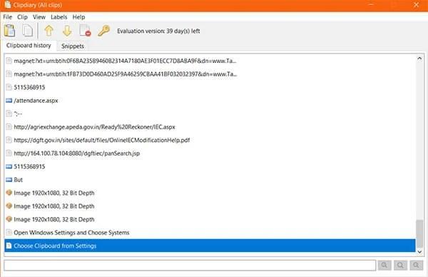 Screenshot of Clipdiary on Windows
