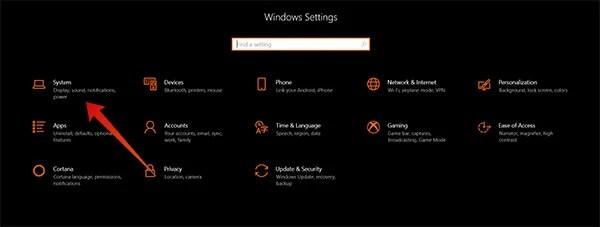 Screenshot of Windows 10 Settings