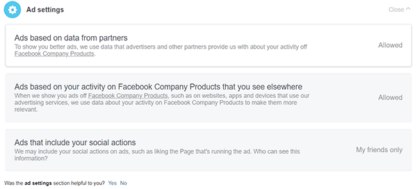 Screenshot of the window to Opt out of Facebook Ads based on your Internet Activities