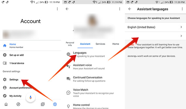 Select Hindi as Assistant Language on Google Home