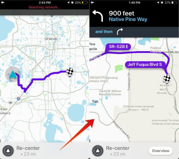 Waze Offline Map Route iPhone