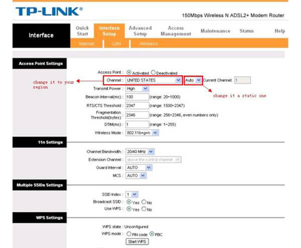 Change WiFi channel on TP-LINK routers