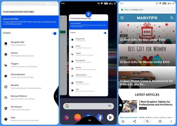 full screen navigation gestures on any android