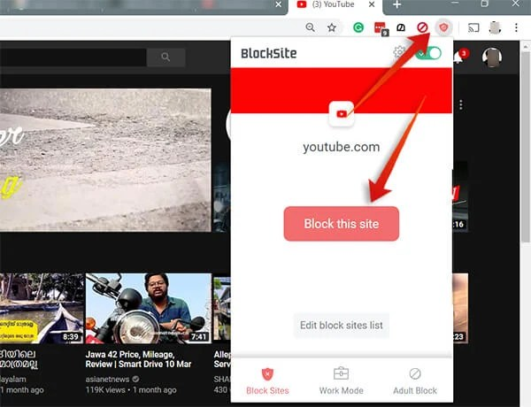 Block Youtube on Google Chrome using BlockSite