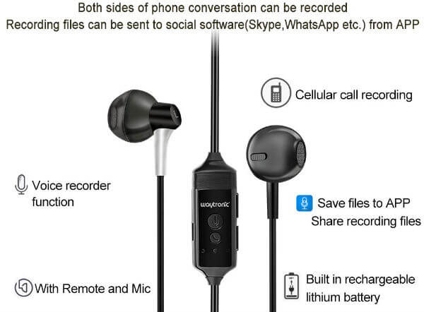 Cell Phone Call Recorder Earphone Waytronic