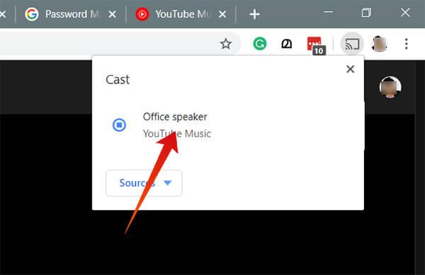Choose Google Home from Google Chrome Cast