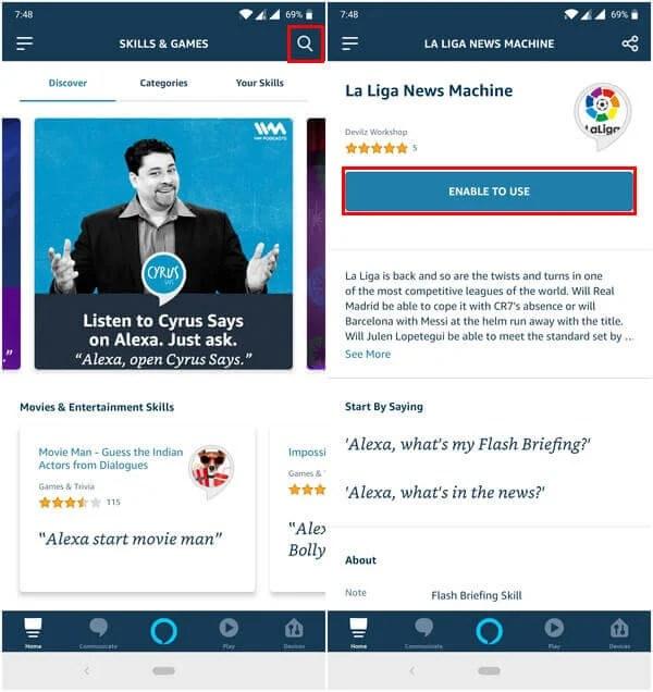 Enable Alexa Skill on Mobile