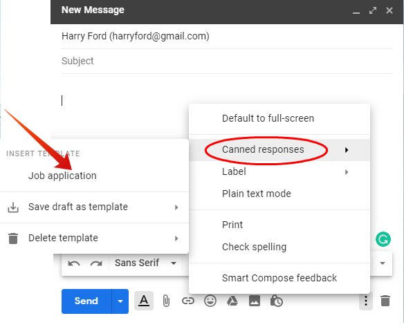 Gmail insert canned response