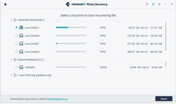 Selecting Location to Recover recoverit