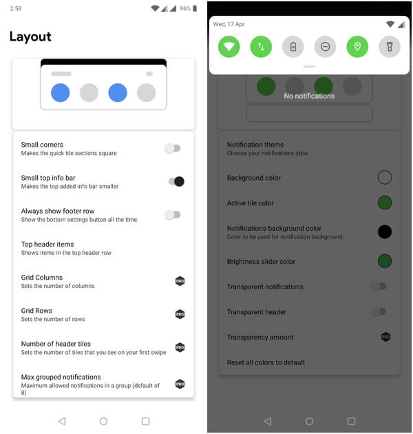 Power Shade configurations - Google Pixel theme