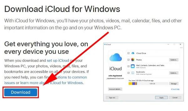 download iCloud Windows app