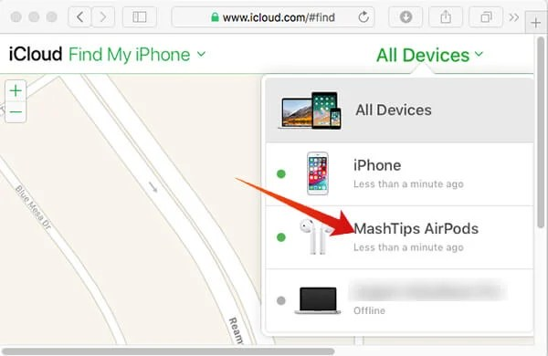 Choose AirPods from iCloud on Web