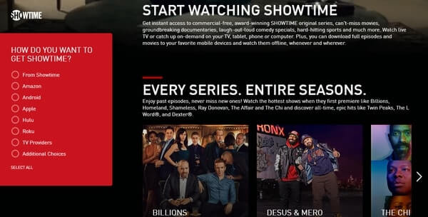 Showtime video streaming service