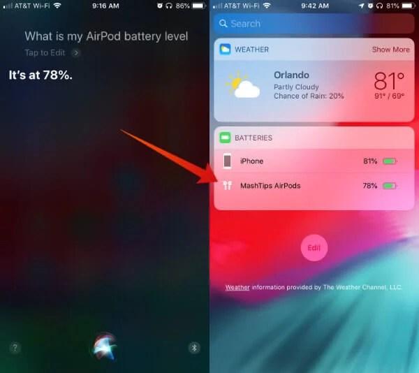 Siri AirPods Battery Level