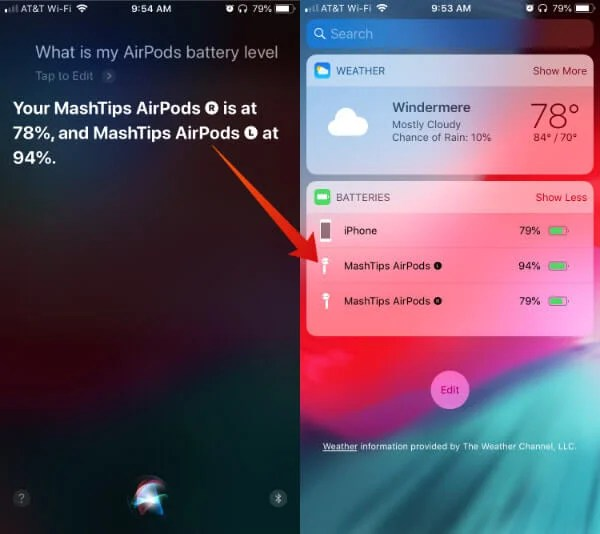 Siri Airpods Left Right Battery