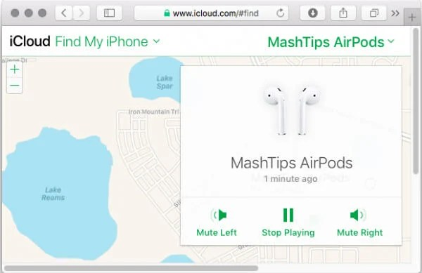 iCloud AirPods PlaySound