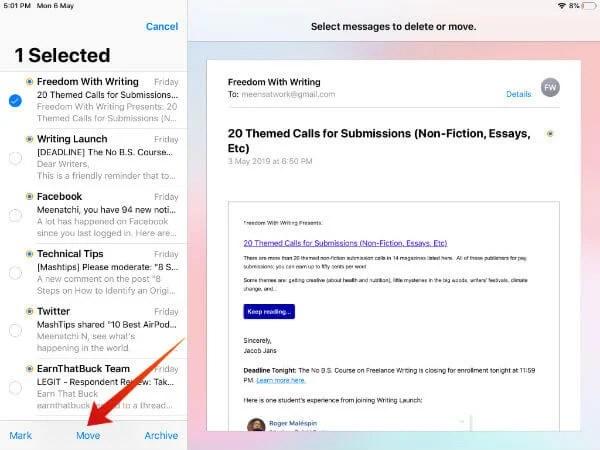 iPad select emails on folder
