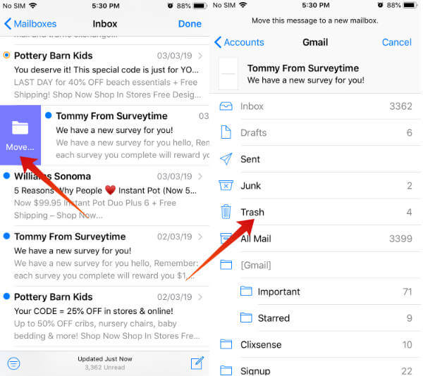 iPhone delete email using swipe