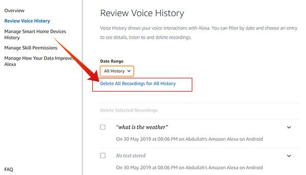 Delete All Voice Recording History on Amazon Alexa