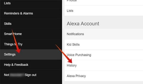 Enter History on Alexa Account Web
