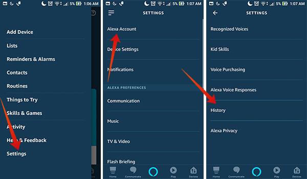 Go to Amazon Alexa app Settings on Android or iOS