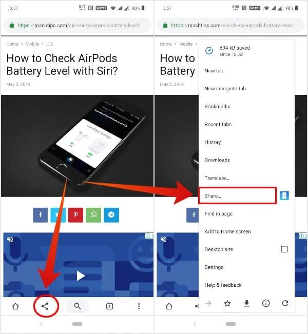 Split Toolbar UI Share options