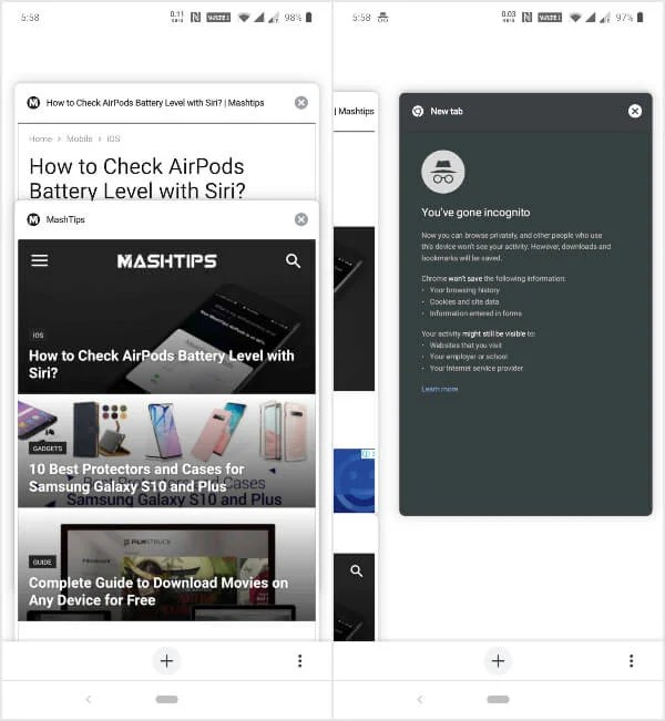 Chrome Duet UI Tabs Page