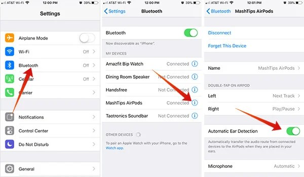 How to turn off automatic ear detection on AirPods