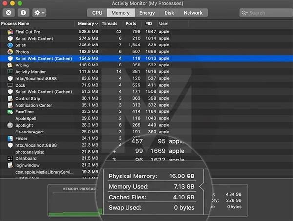 Memory Usage in 16GB 2019 MacBook Pro 13-inch