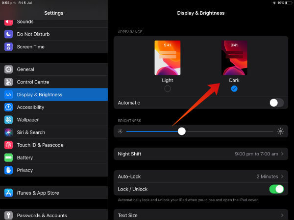 ipad enable dark mode settings