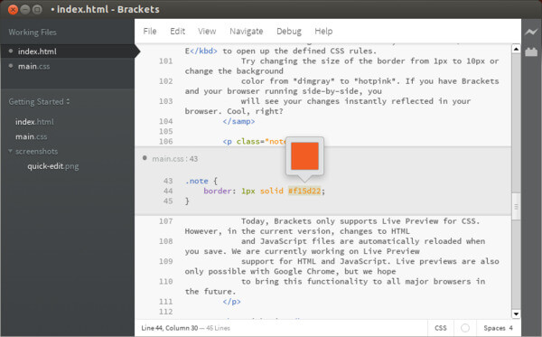 Brackets Linux Code Editor by Adobe