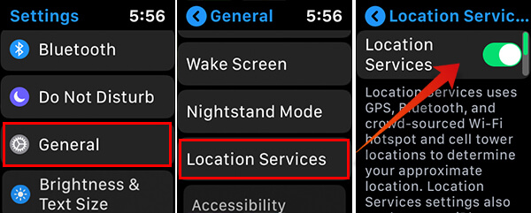 Screenshots of Disabling Location Services on Apple Watch