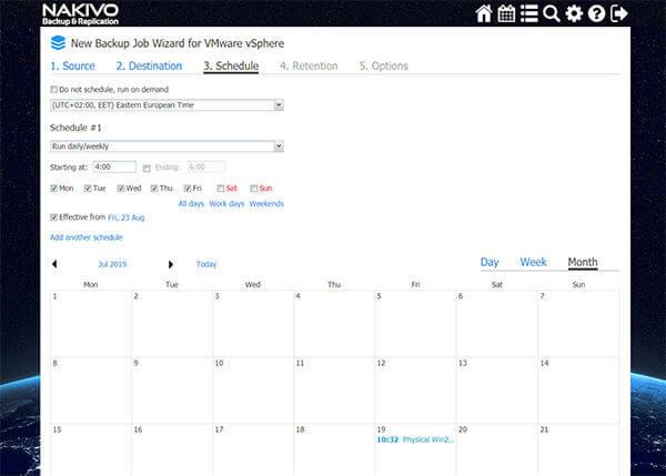 Nakivo Backup Job Wizard VMWare vSphere Schedule