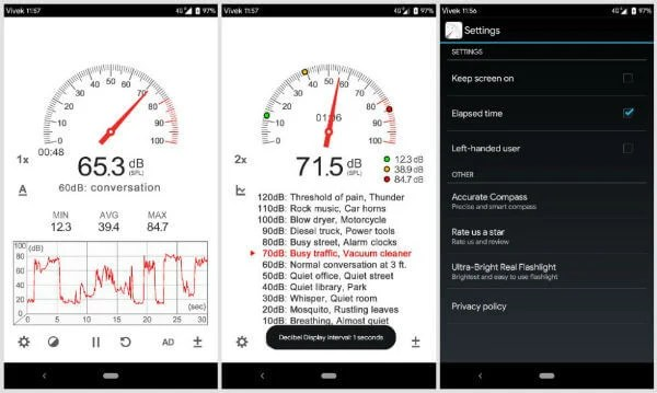 Android Sound Meter App Configurations