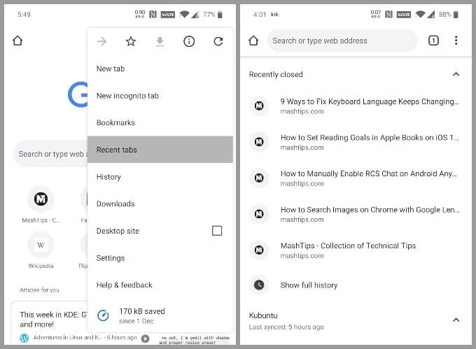 Restore recently closed tabs in Chrome for Android