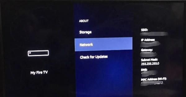 Firestick Network settings
