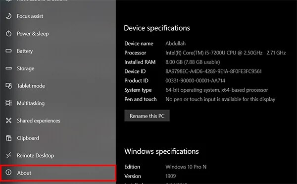 How to check RAM on Windows 10 from Settings About
