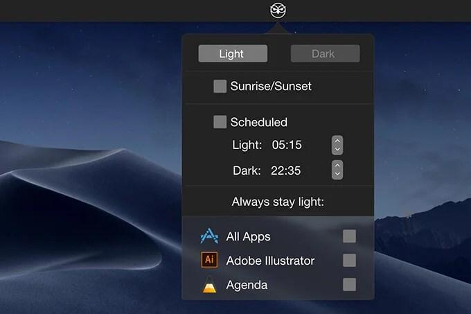 NightOwl app to schedule Dark Mode on Mac
