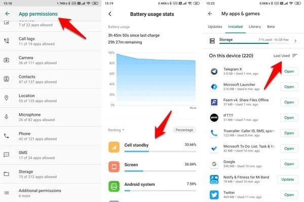checking app permissions, battery usage, play store last usage