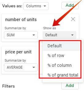 Google sheet pivot table values percentage