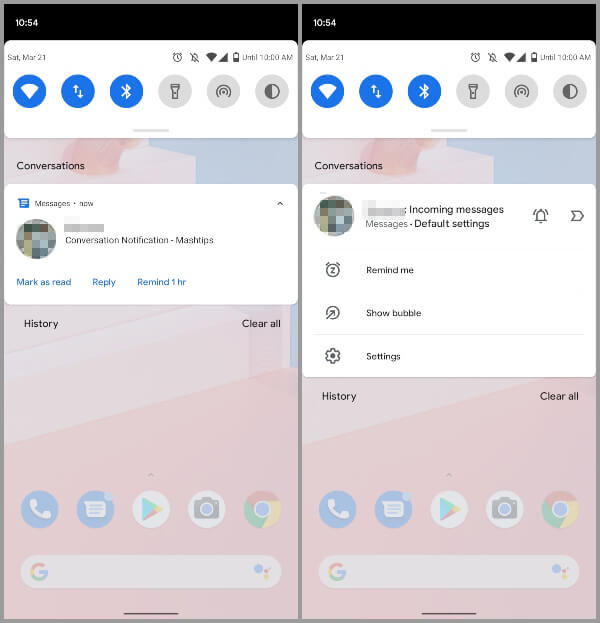 Android 11 Developer Preview 2 Features - Important conversations