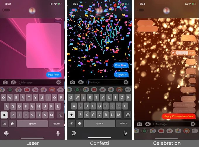 Use Words and Phrases that trigger iMessage Text Effects on iPhone and iPad