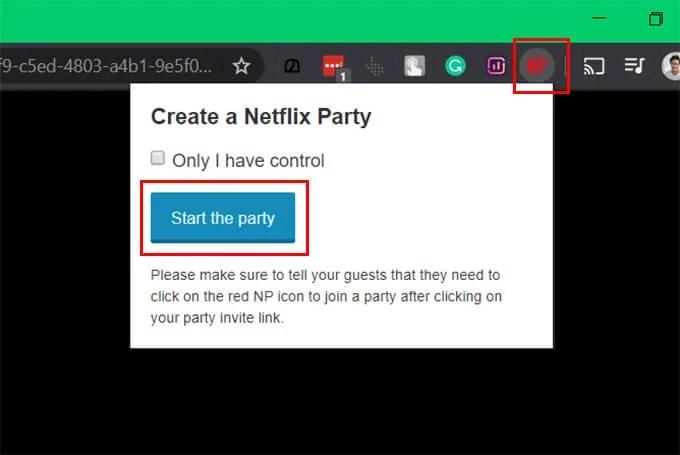 Start Netflix Party on Google Chrome Browser